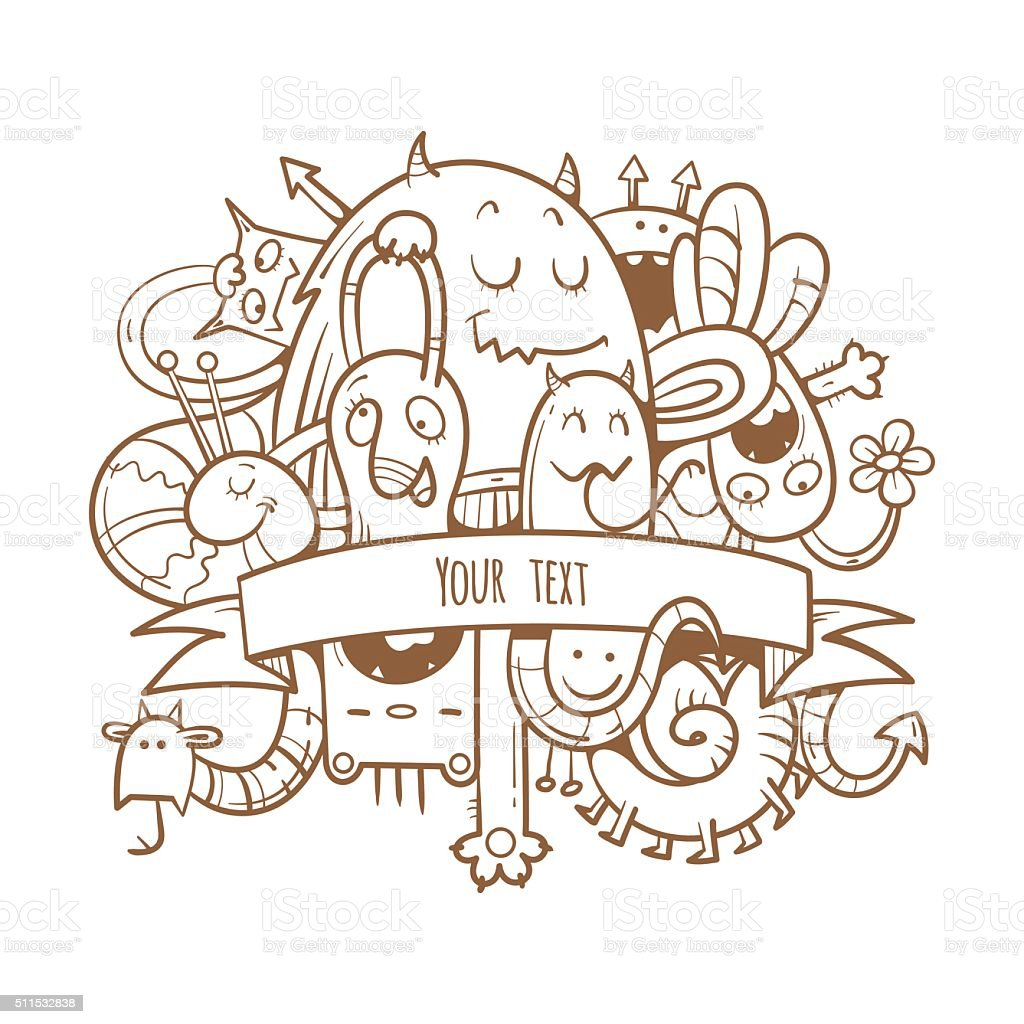 Card with monsters. vector art illustration