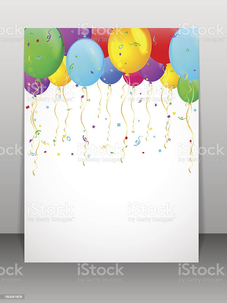 Card with multicolored balloons. royalty-free stock vector art