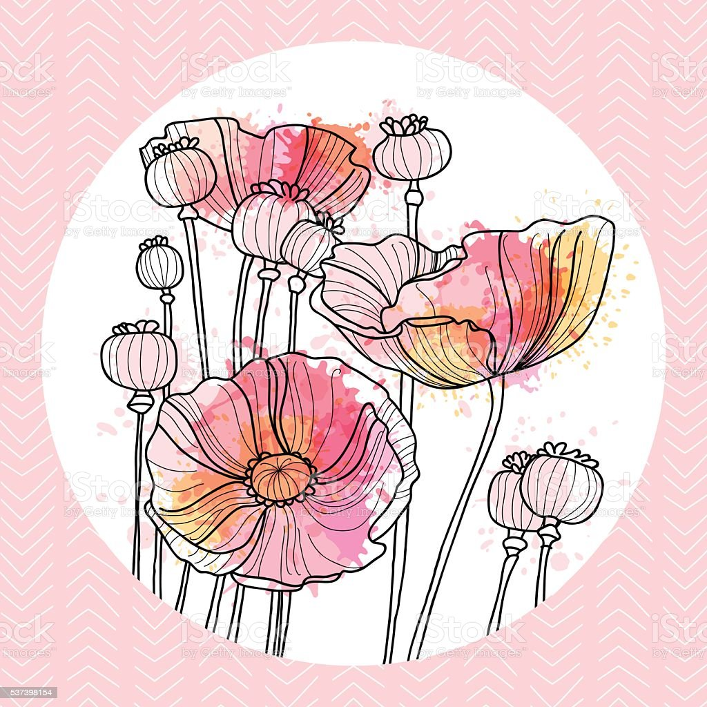 card with poppies vector art illustration