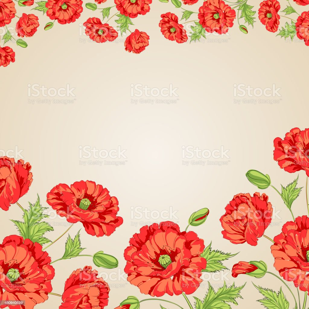Card with poppy royalty-free stock vector art