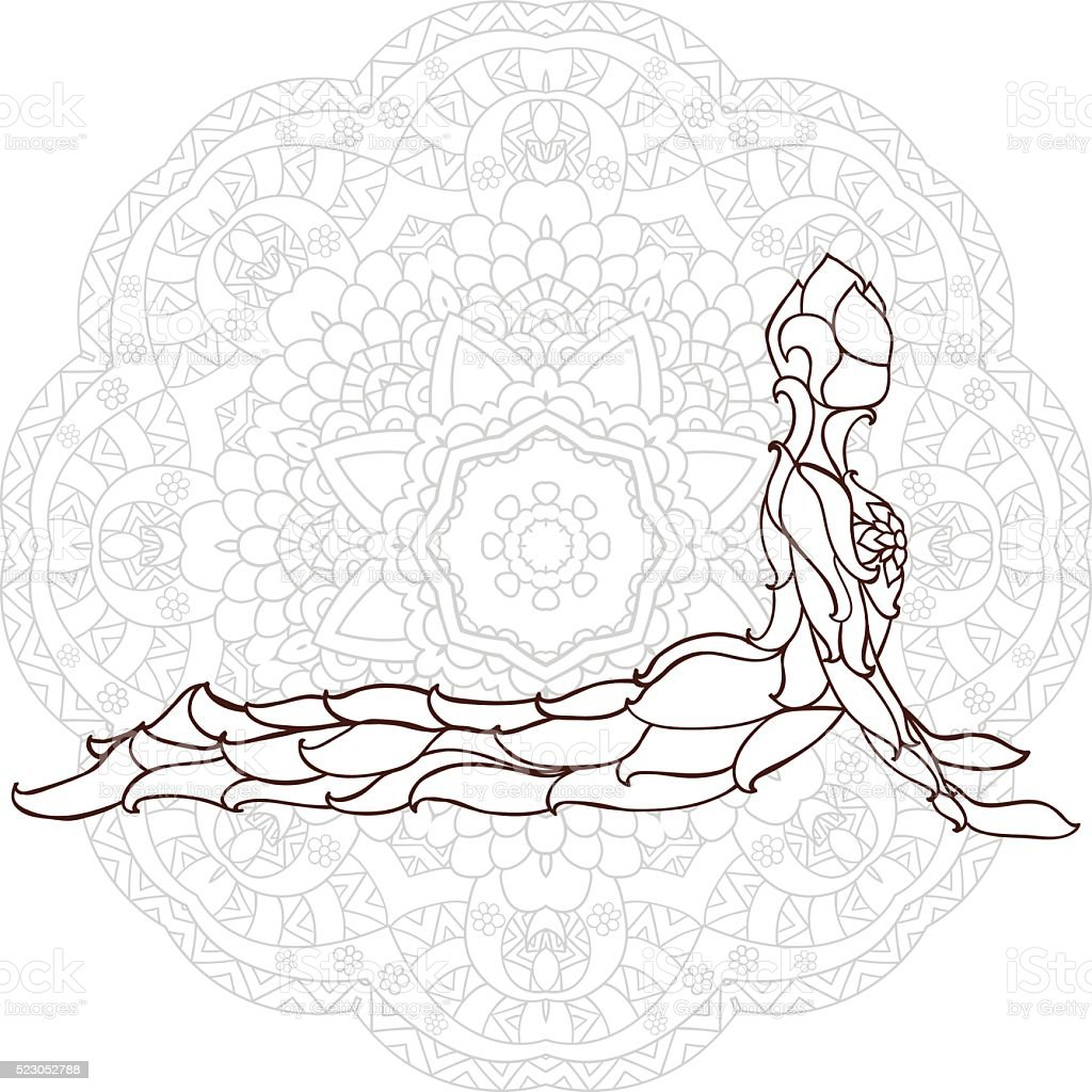 card with pose ornament yoga vector art illustration