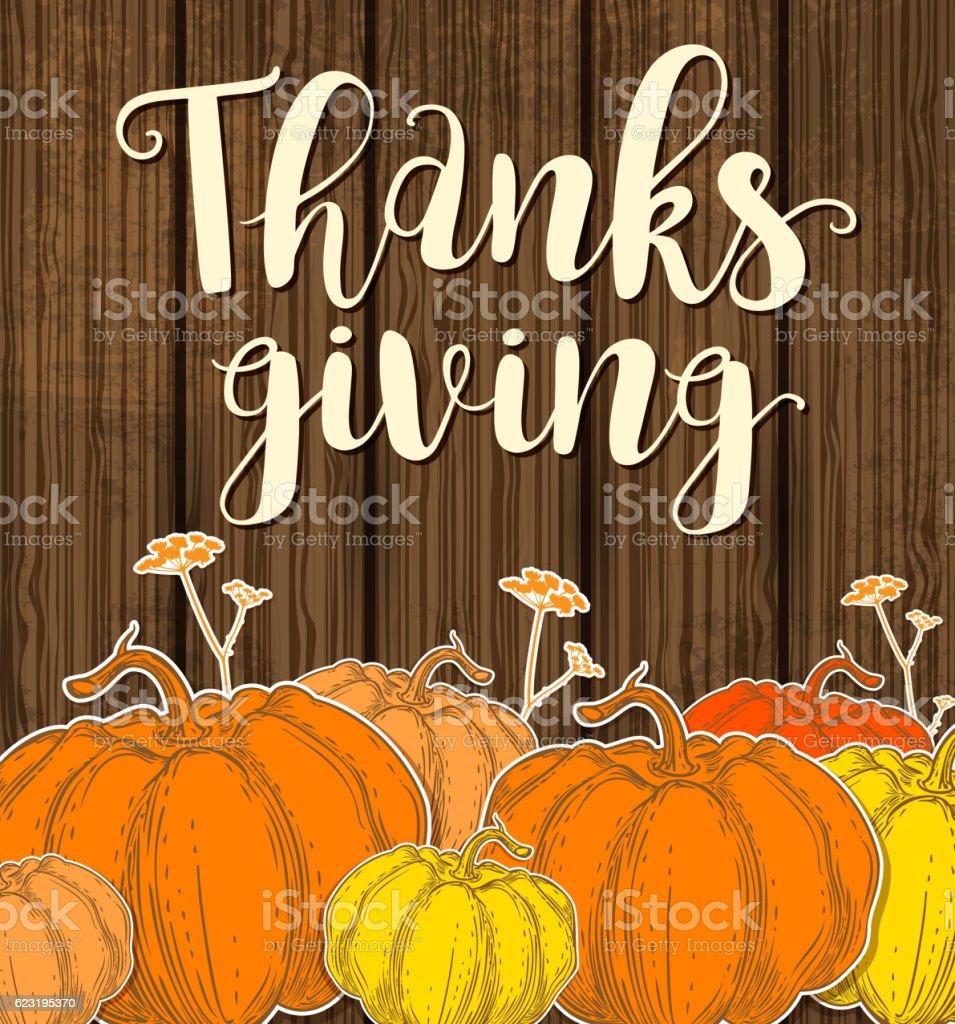 Card with pumpkins vector art illustration