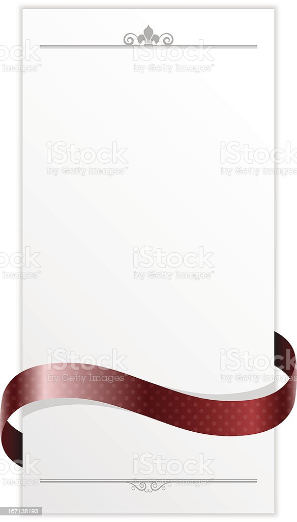 card with red ribbon royalty-free stock vector art