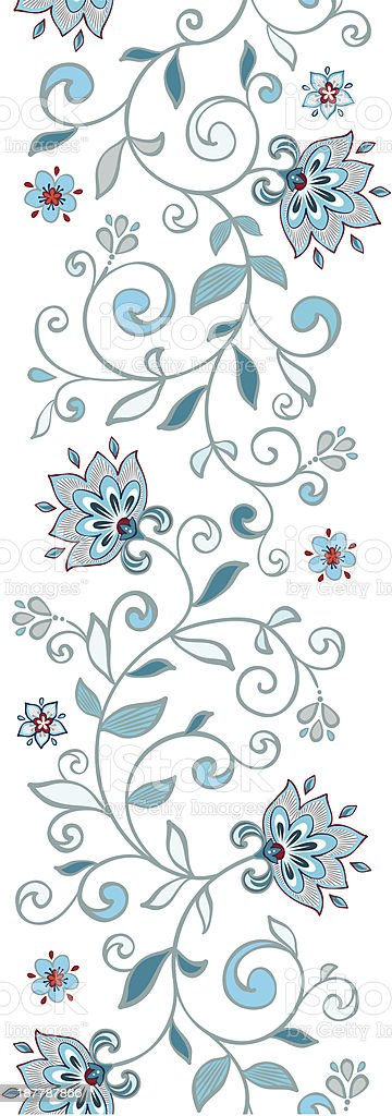 Card with seamless floral border. royalty-free stock vector art
