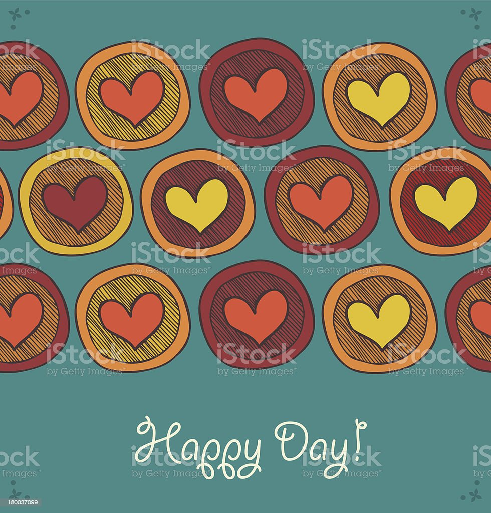 Card with seamless rows of hearts in circles royalty-free stock vector art