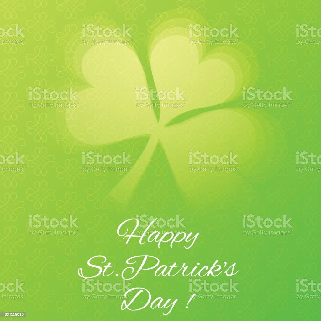 Card with Semi Transparent Shamrock Leaf vector art illustration