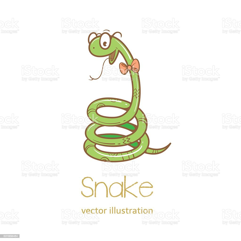 Card with snake. vector art illustration