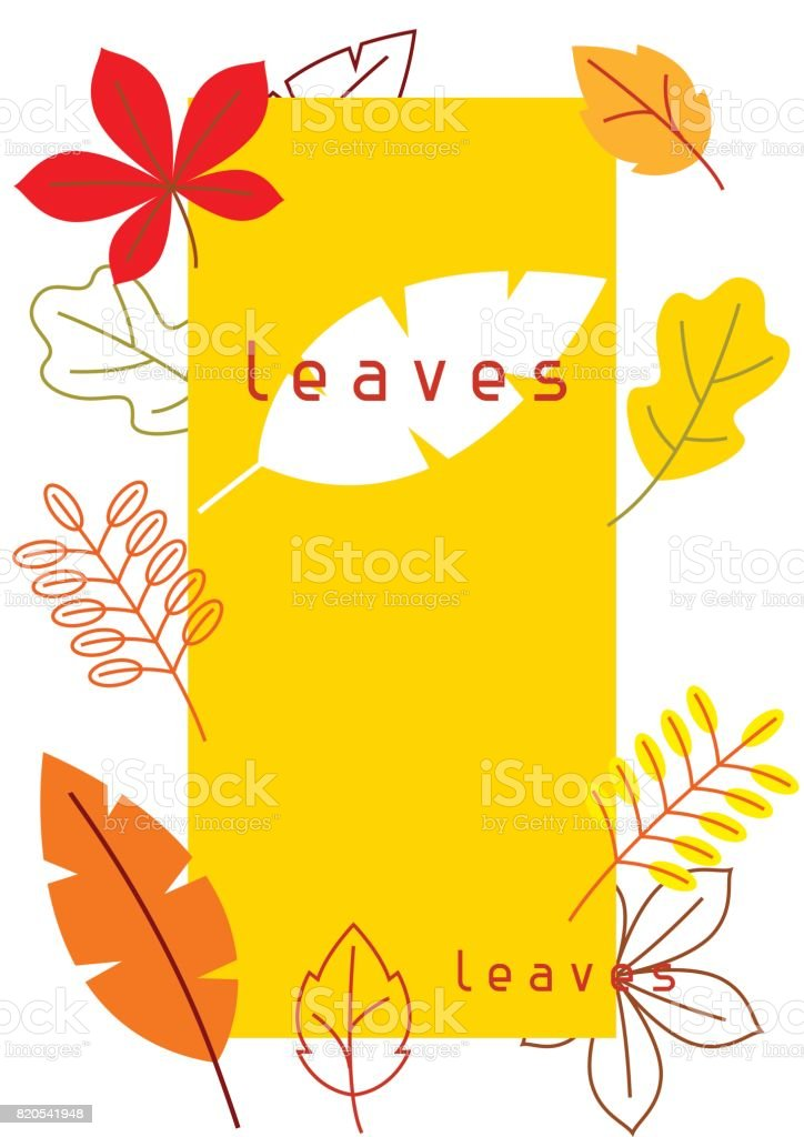 Card with stylized autumn foliage. Falling leaves in simple style vector art illustration