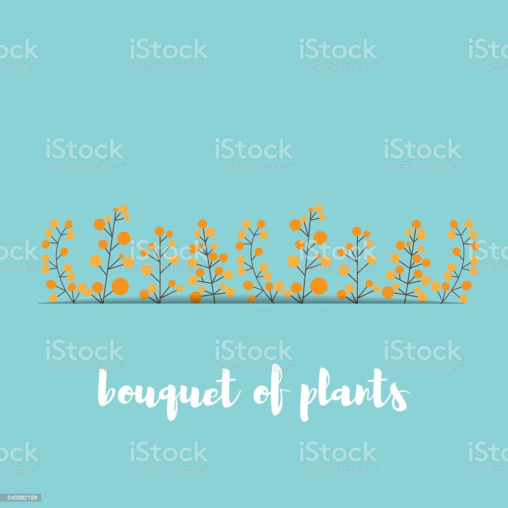 card with stylized sprigs of mimosa vector art illustration
