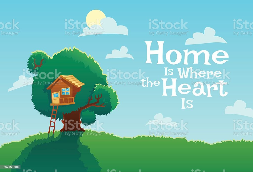 Card with Tree house and text vector art illustration