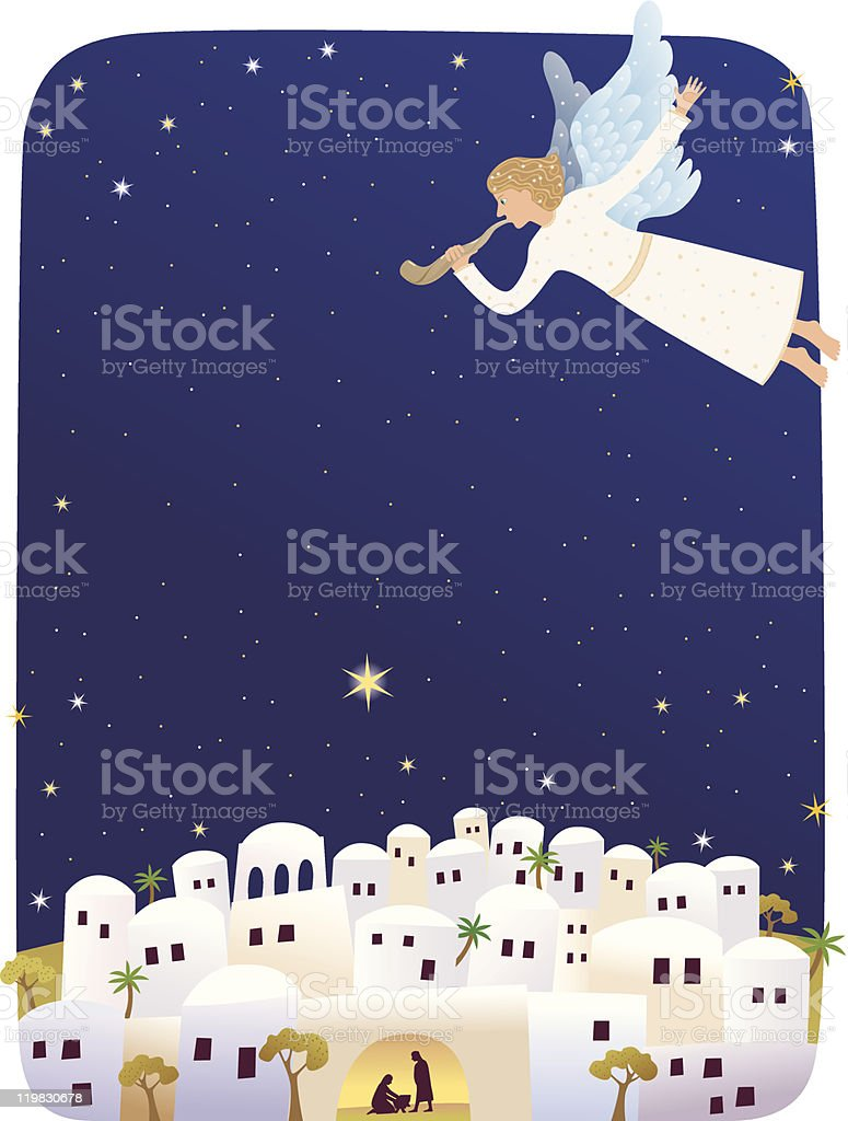 Card with trumpeting angel announcing birth of Jesus vector art illustration
