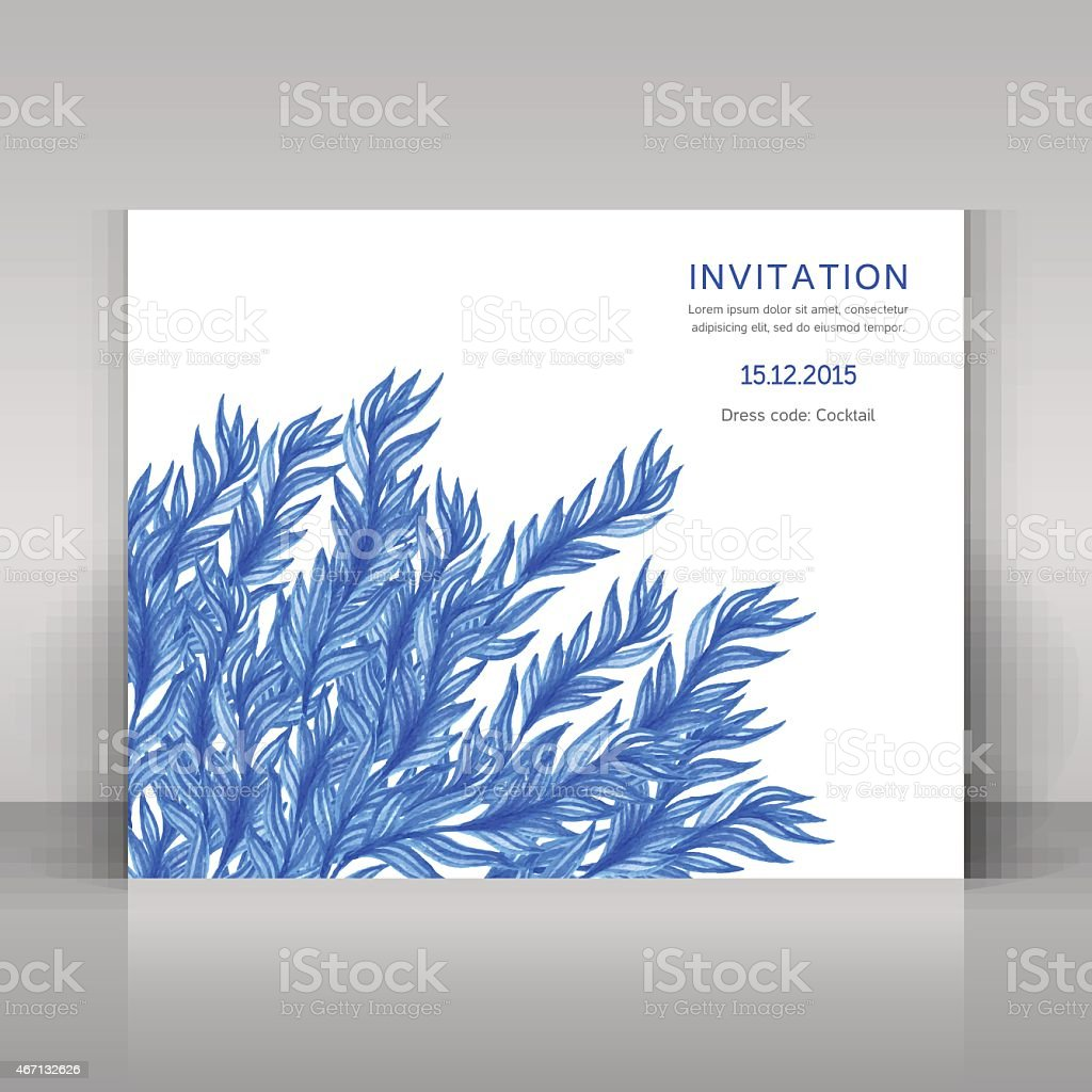 Card with watercolor flowers. vector art illustration