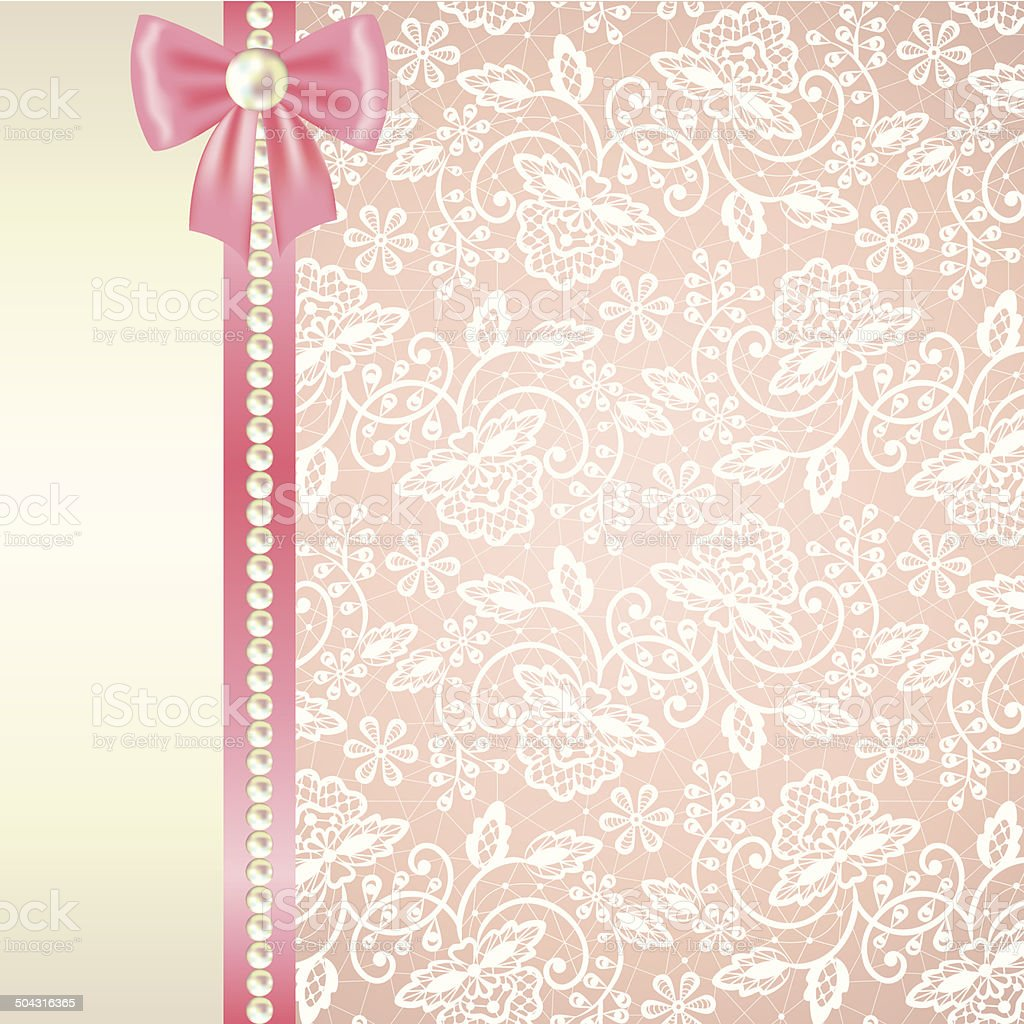 card with white lace on pink background vector art illustration