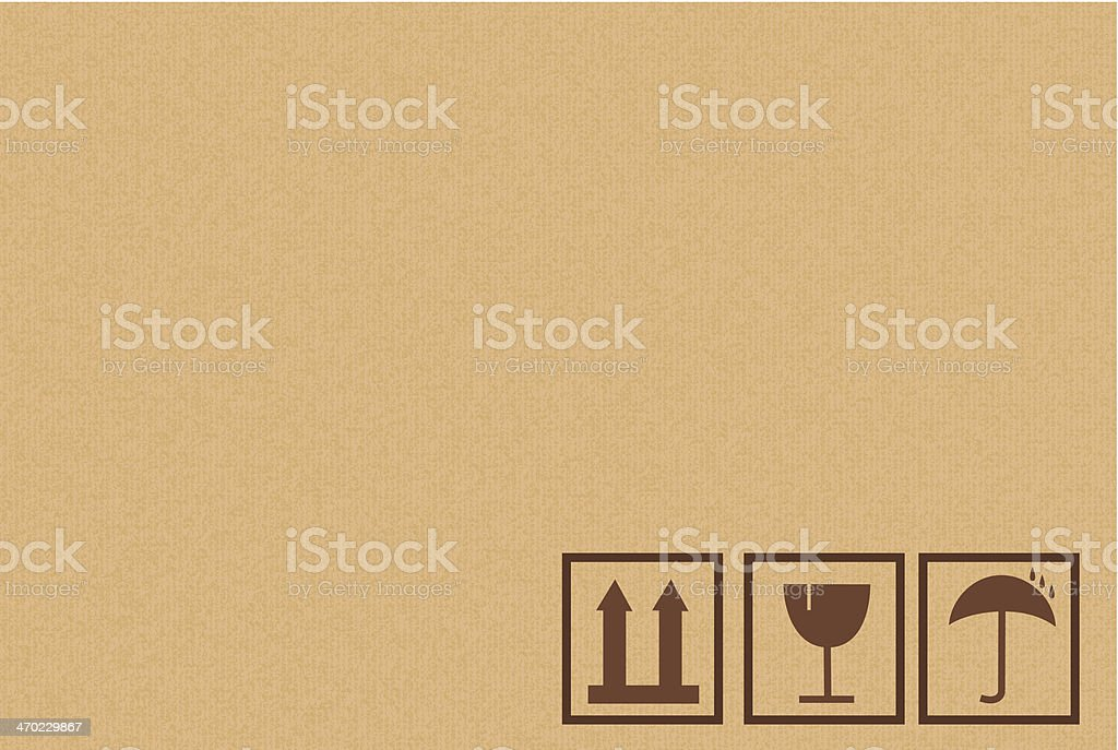 Cardboard Box Background With Icons vector art illustration