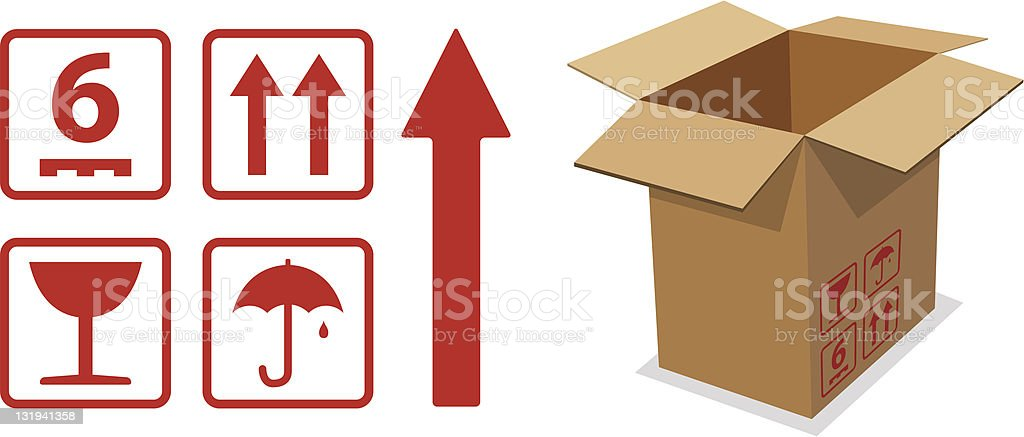 Cardboard Box Icons royalty-free stock vector art