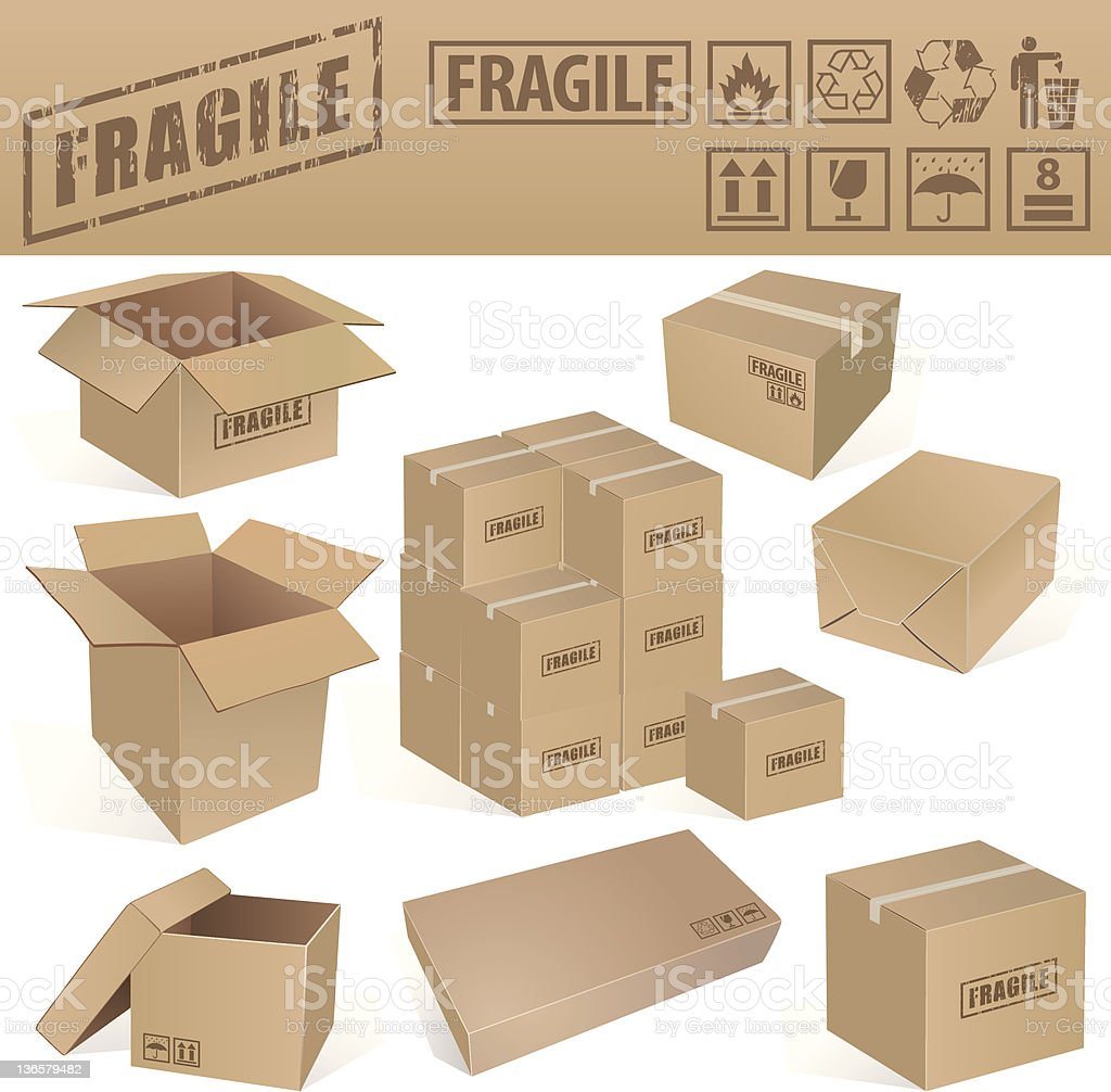 Cardboard Box Set and Signs vector art illustration