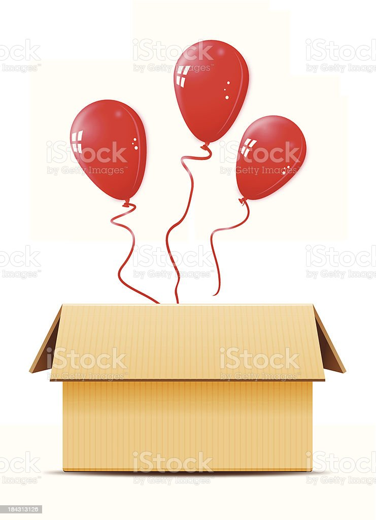 Cardboard box with balloons -VECTOR vector art illustration
