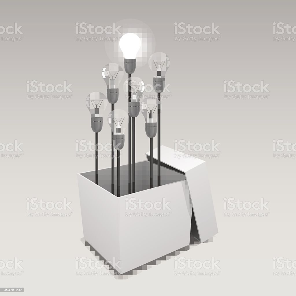 Cardboard box with lit light bulb. Vector Illustration vector art illustration