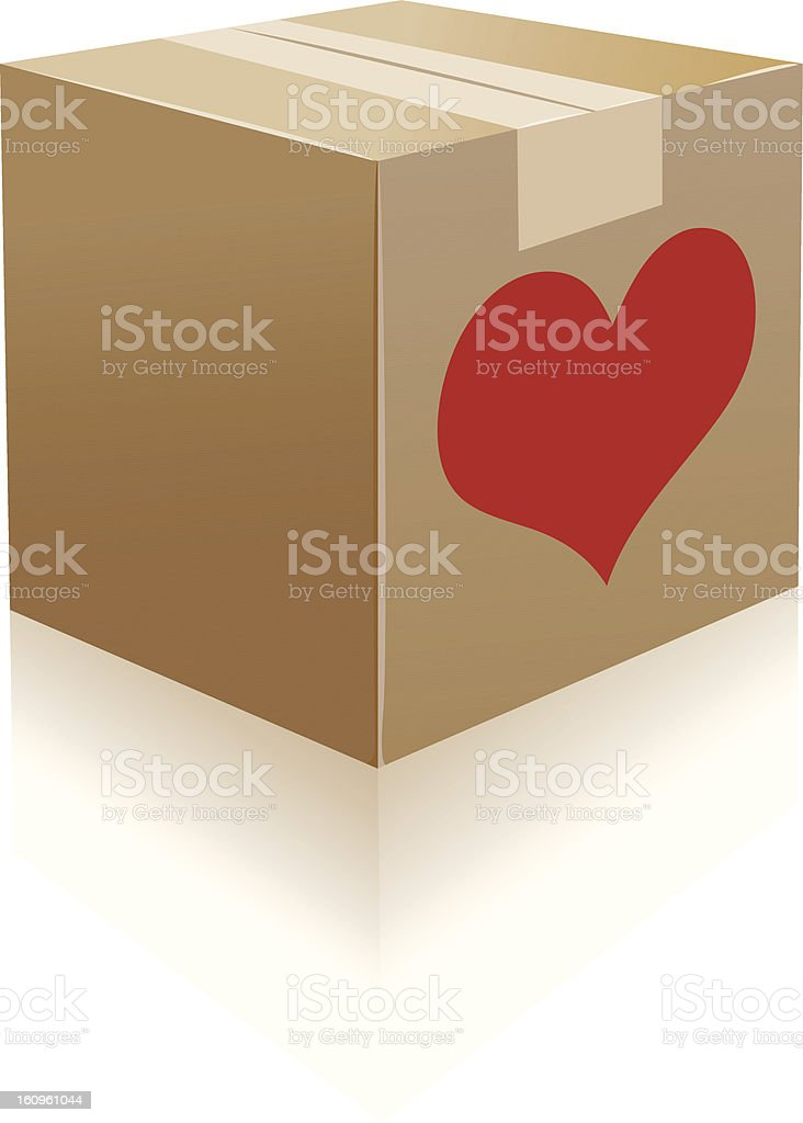 cardboard boxes and heartshape stuff royalty-free stock vector art