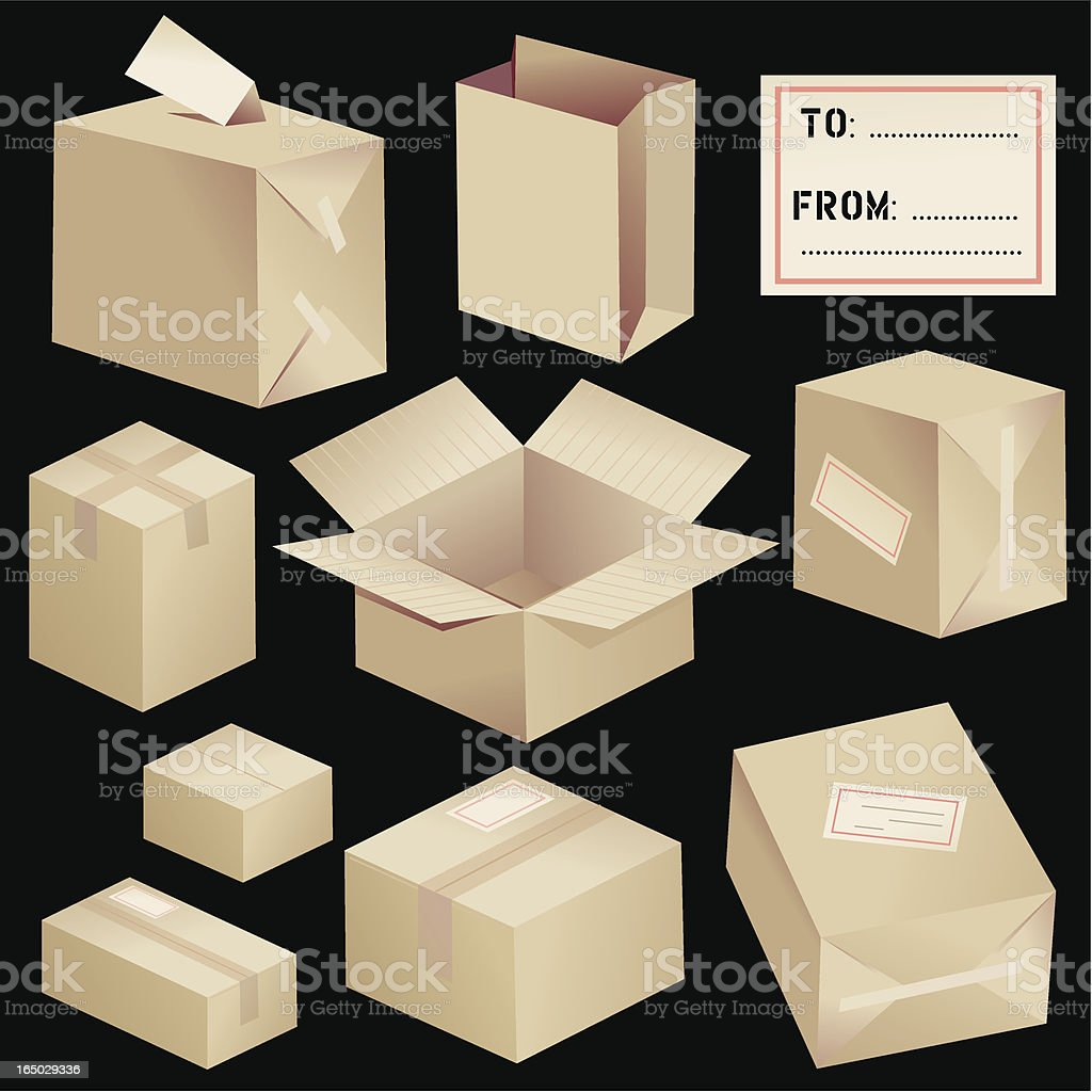 Cardboard Boxes: Black Background royalty-free stock vector art