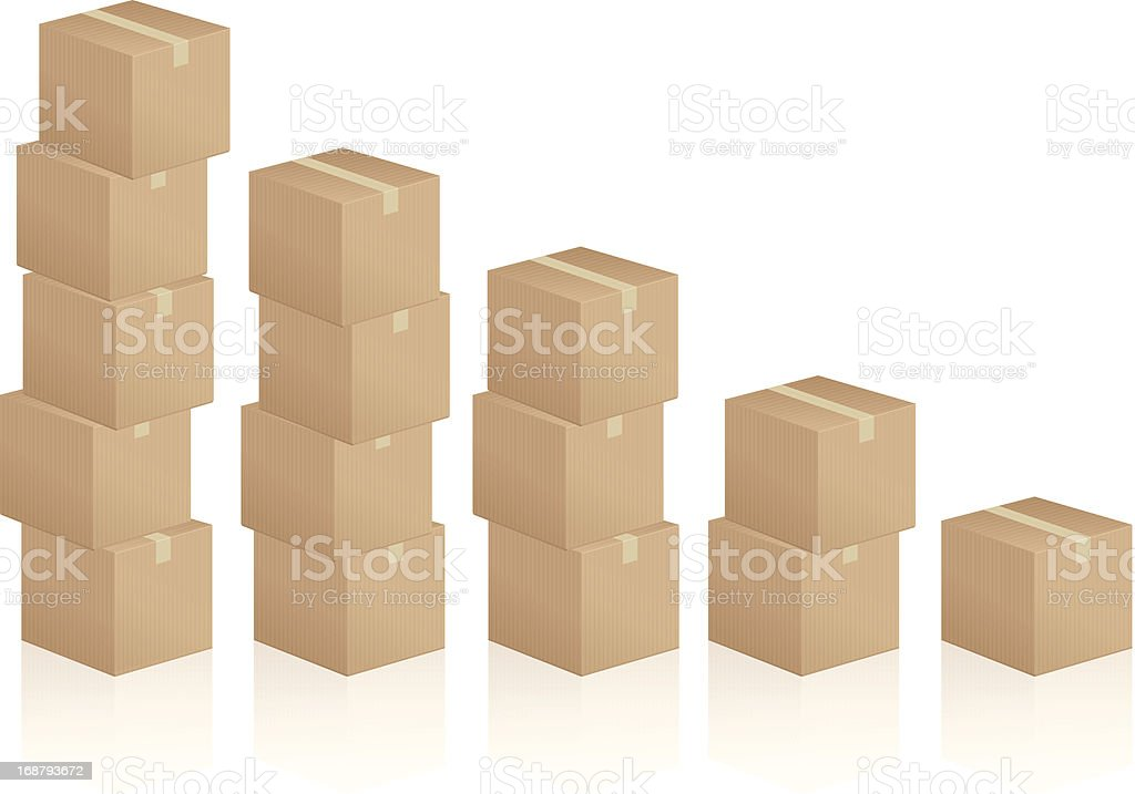 cardboard boxes diagram royalty-free stock vector art