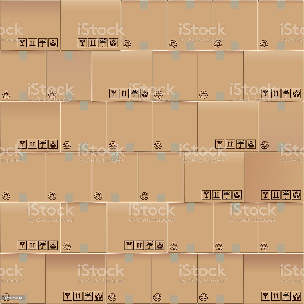 Cardboard boxes mosaic vector art illustration