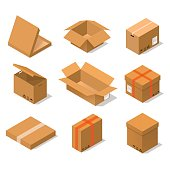 Cardboard Boxes Set Isometric View. Vector