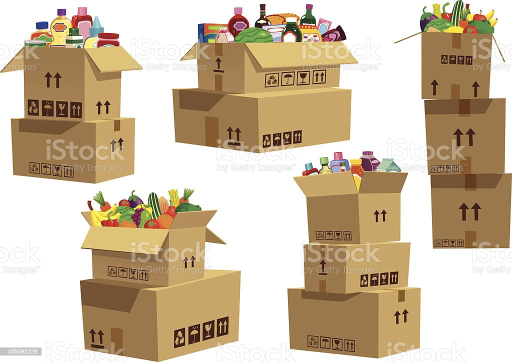 Cardboard boxes stacked with grocery goods royalty-free stock vector art