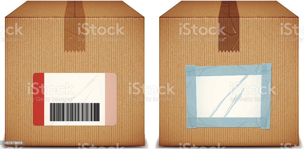 cardboard boxes with blank labels vector art illustration