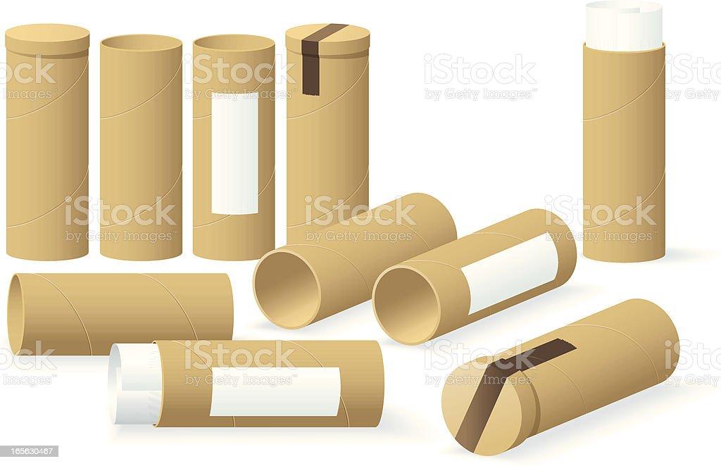 Cardboard Cylinders royalty-free stock vector art