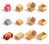 Cardboard gift boxes opened and closed. 3D isometric vector icons