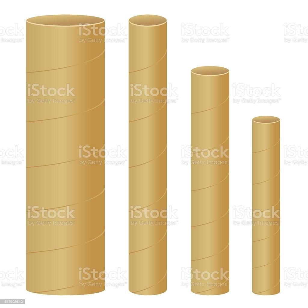 3D Cardboard Mailing Tubes vector art illustration