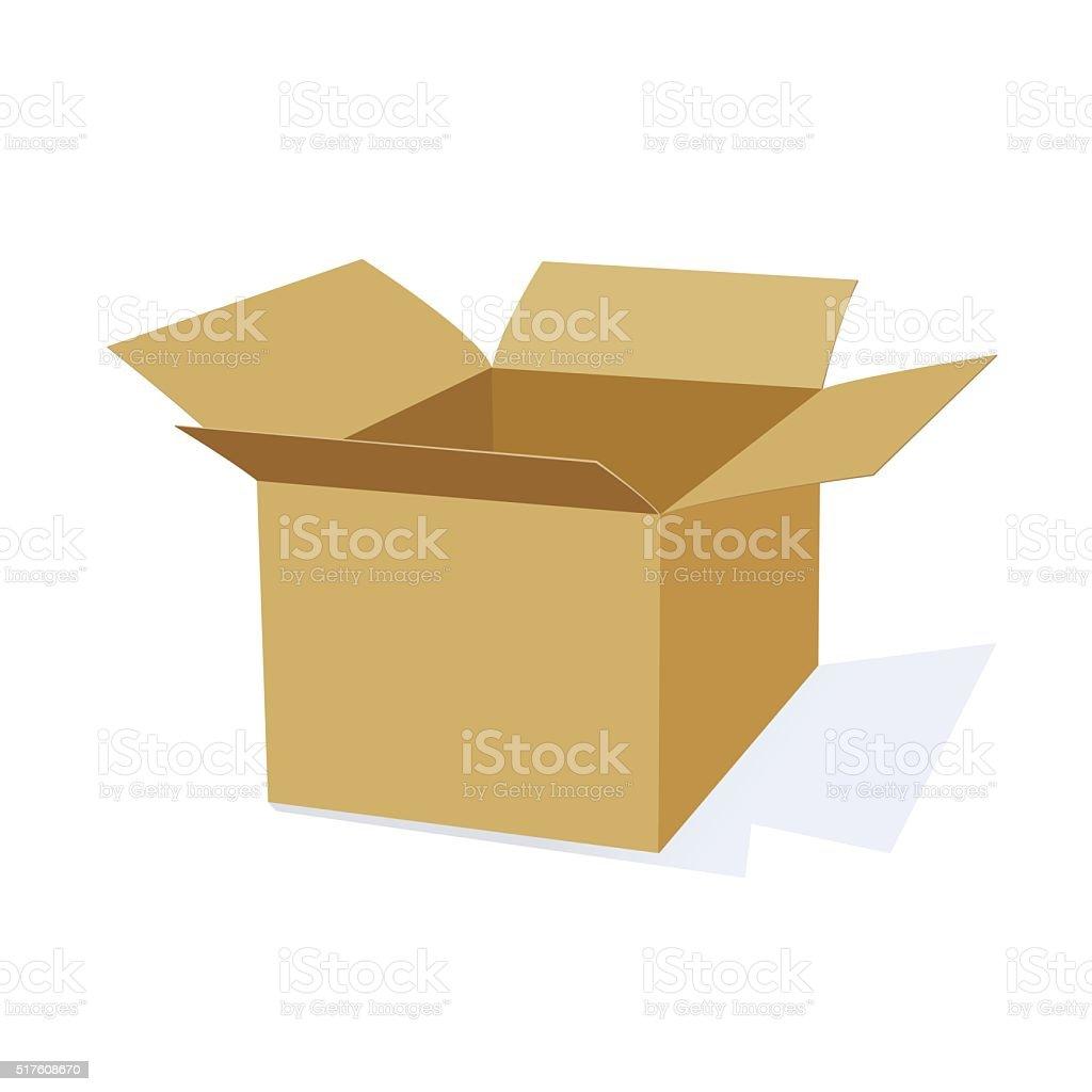 3D Cardboard Packing Box vector art illustration