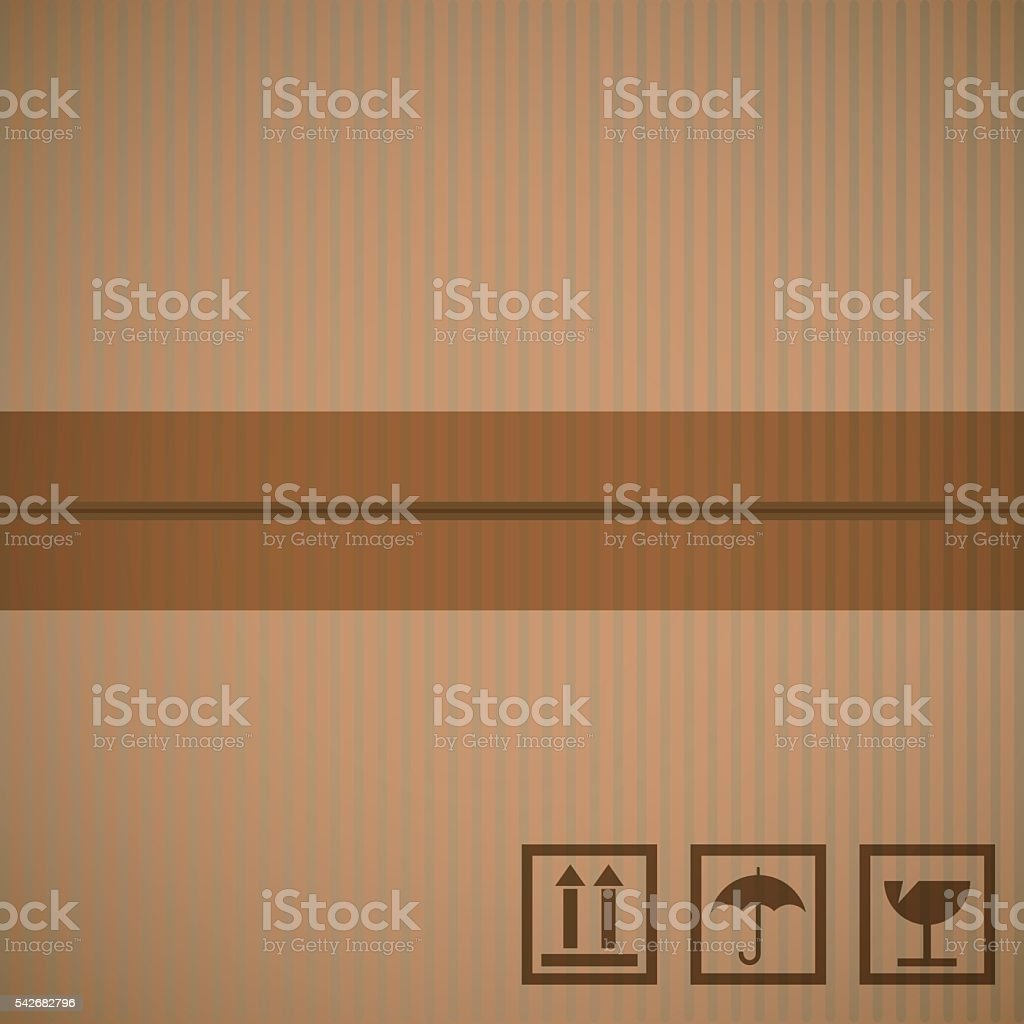 Cardboard texture two sections connected by transparent tape vector art illustration