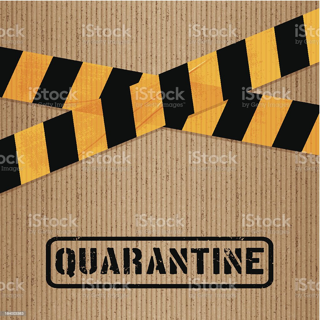 cardboard with printed packing tape and icons_quarantine royalty-free stock vector art