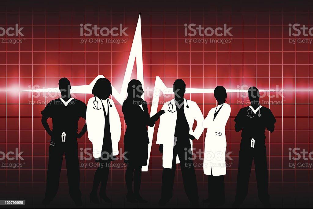 Cardiac medical team royalty-free stock vector art