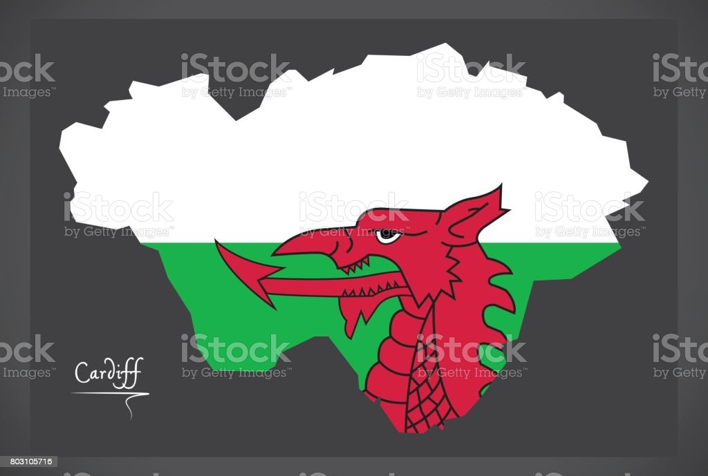 Cardiff Wales map with Welsh national flag illustration vector art illustration