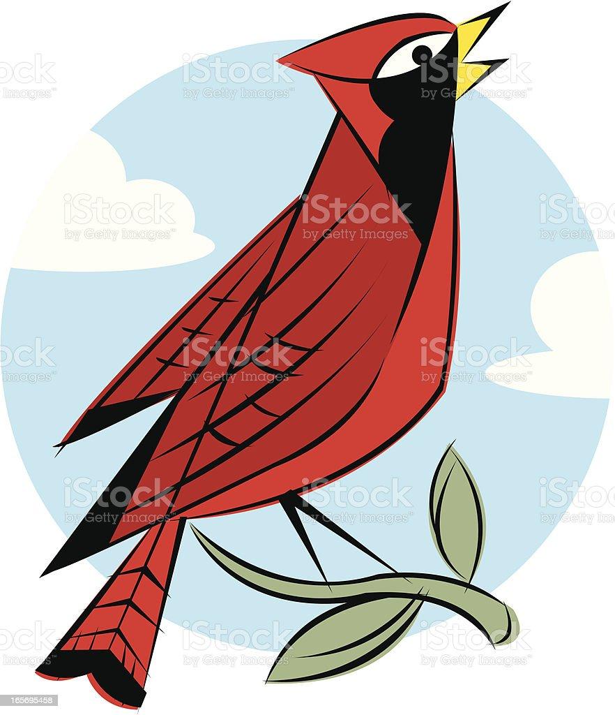 Cardinal Bird on Branch royalty-free stock vector art