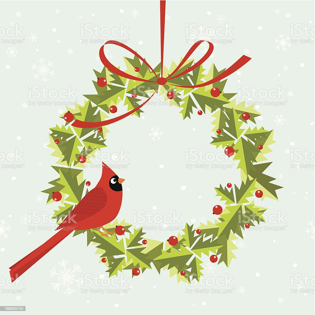 Cardinal bird on holly wreath royalty-free stock vector art