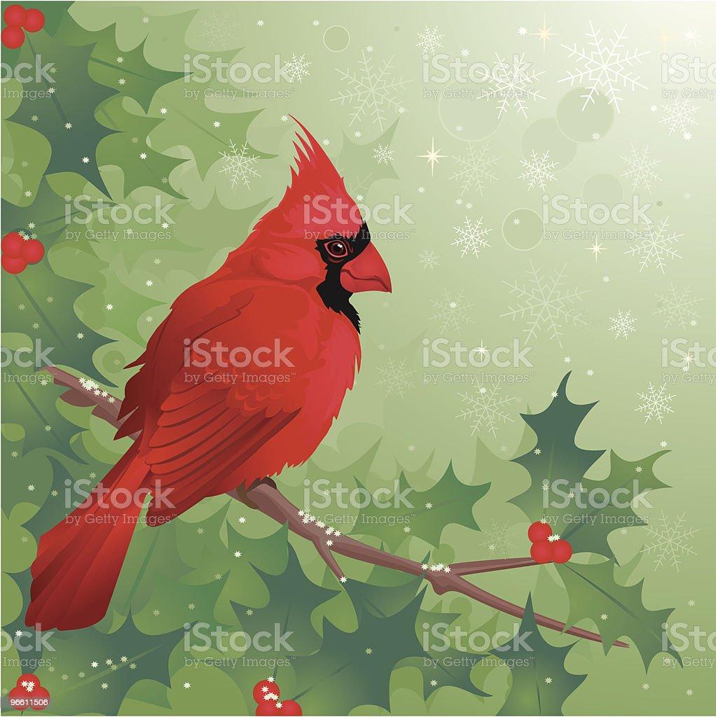 Cardinal bird sitting on Holly branch in Winter royalty-free stock vector art