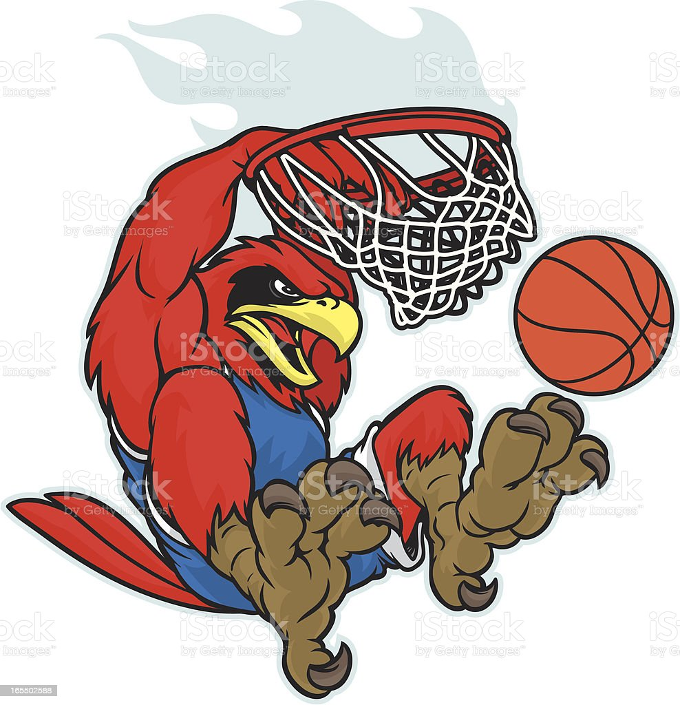 Cardinal du8nking a basketball vector art illustration
