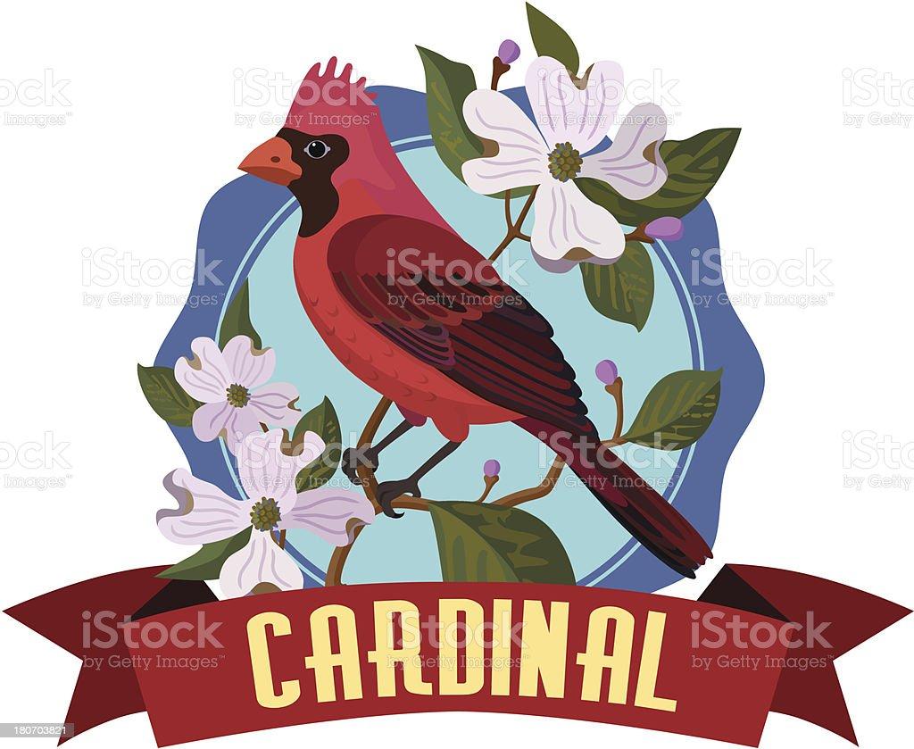 cardinal in a dogwood tree royalty-free stock vector art