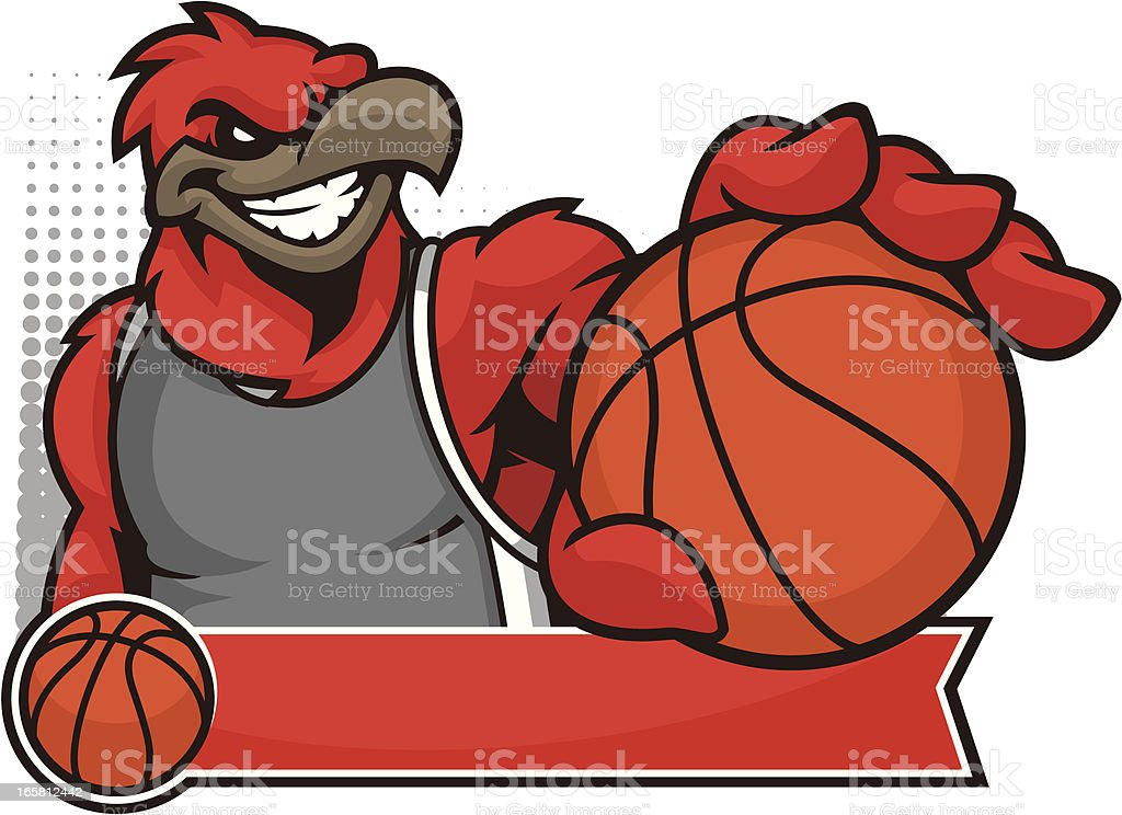 Cardinal Mascot Basketball vector art illustration