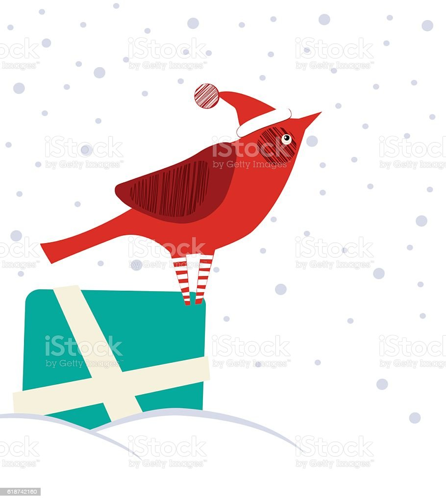 Cardinal On Gift Box vector art illustration