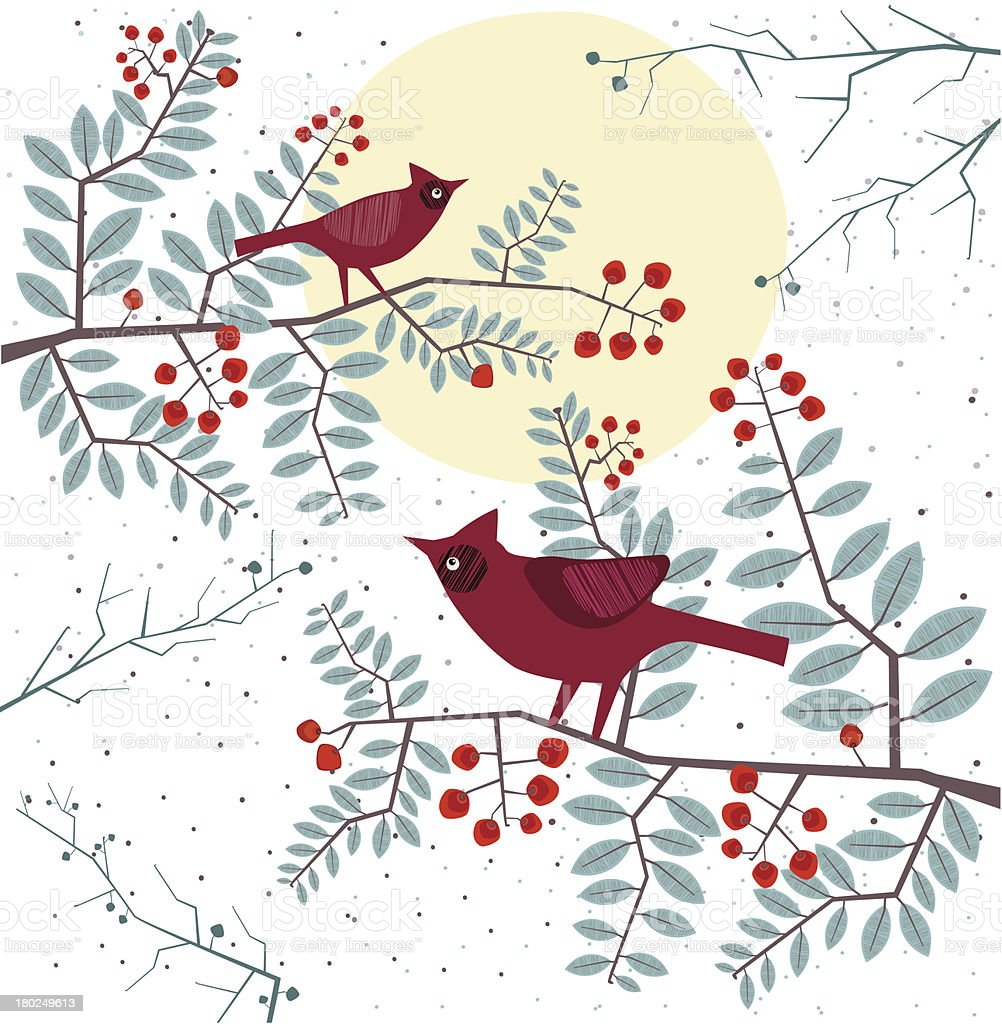 Cardinals In Winter Twilight royalty-free stock vector art