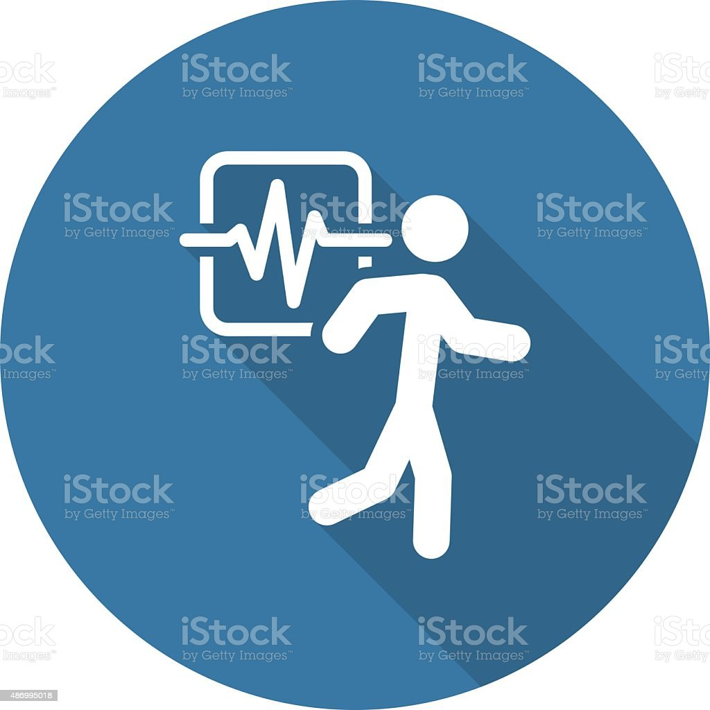 Cardio Workout and Medical Services Icon. Flat Design. Long Shad vector art illustration