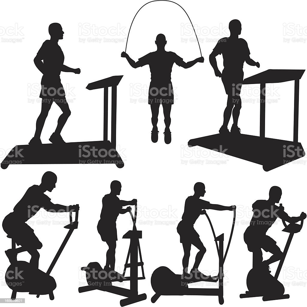 Cardio Workout Silhouette Collection vector art illustration