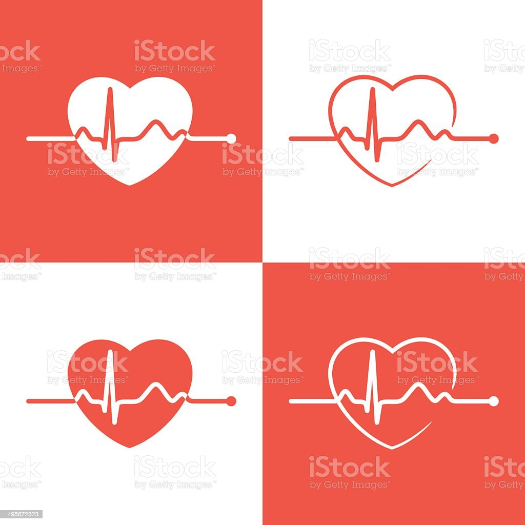 Cardiogram icons vector art illustration