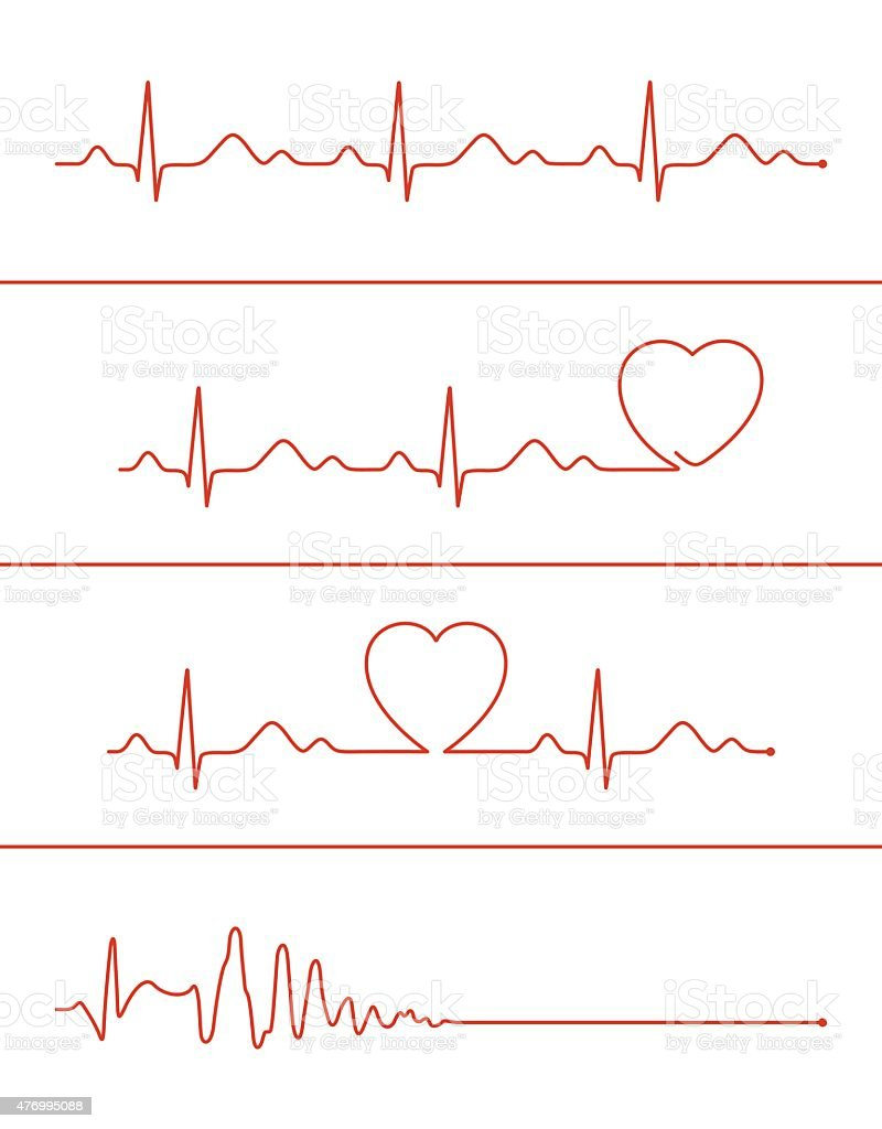Cardiogram lines set vector art illustration