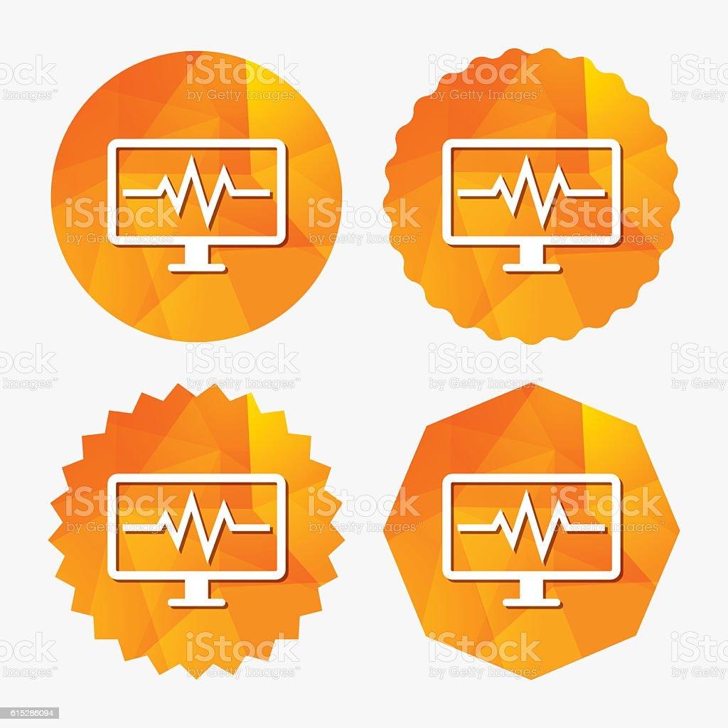 Cardiogram monitoring sign icon. Heart beats. vector art illustration